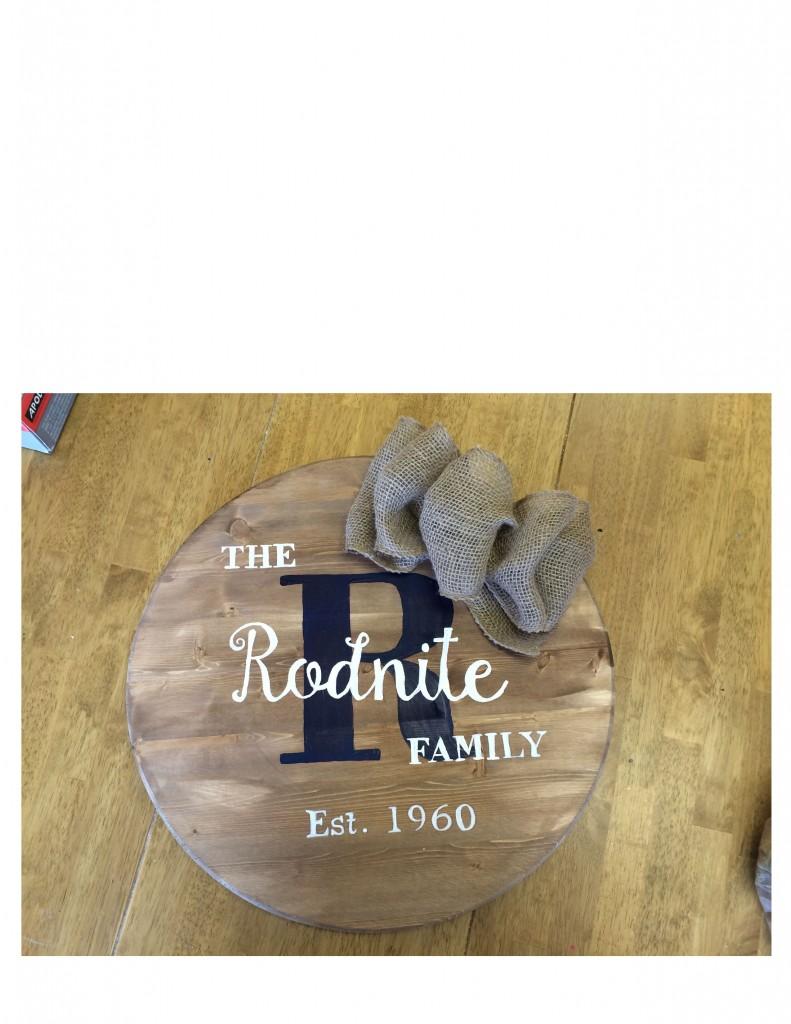 Round Wood Sign
